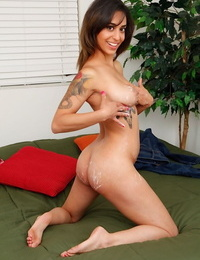 Smiley latina fledgling undressing- creaming her body and exposing her g-spot