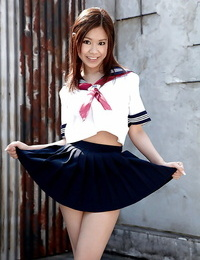 Redhead Asian stunner Ria Sakuragi unveiling fat knockers and upskirt undies