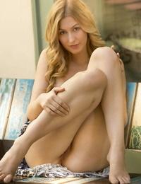 Erotic Alexa Grace flashes a panty upskirt outside before revealing naked twat