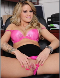 Well-graced blonde in glasses Jessa Rhodes stripping in the office