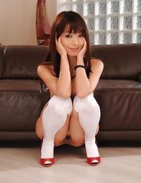 Jiggish schoolgirl Marica Hase gliding off her erotic uniform