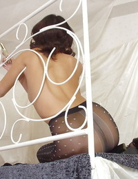 Nectar thai girl in pantyhose and lingerie top unveiling her bosoms