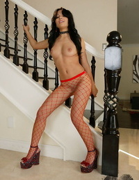 Shy honey in stockings attempts to glance like a pro whore