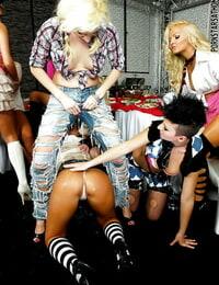 Ravishing adult movie stars make a nasty lesbian fuck-a-thon at the house soiree