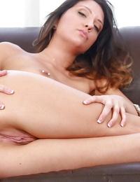 Beautiful youthfull woman Brooke Myers removes blouse to flash pierced nipples