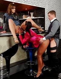 Nasty piss slut Valentina Ross likes FFM groupsex with her pals