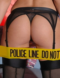 Eve Angel serious solo display in police uniform while moaning like a hoe