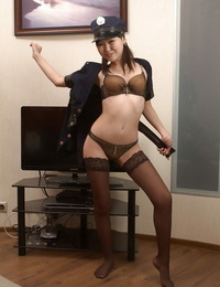 Amateur- Asian prostitute Alexa plays role of sloppy police girl