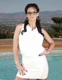 Bosomy Mummy in glasses D/s Bottom Chris disrobing off her dress outdoor