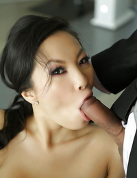 Ladies Asa Akira and Samantha Saint are sucking that Asian cock