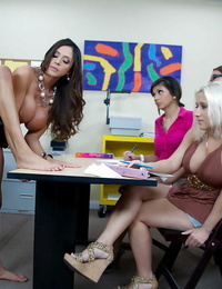 Promiscuous teacher gets bitchy gonzo while her students watching