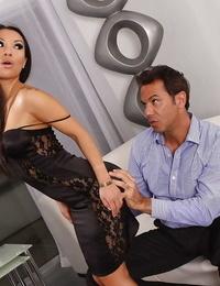 Horny asian vixen Asa Akira gets her greedy love holes banged rough