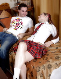 Naughty schoolgirl Nina E gets her tight butthole torn up hard-core