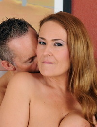 Scorching redhead Mummy Elexis Monroe bares saggy leaned to deep-throat hard-on & rail on top