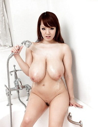 Hitomi Japanese with thick tits naked soapy porno play on webcam