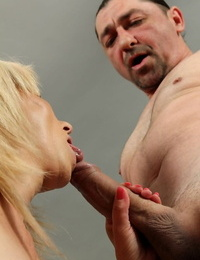 Older lady runs in rivulets cum down her cheek and chin after being facehole fucked