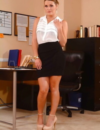 Busty secretary honey Abby Cross reveals her ass and fat tits in office