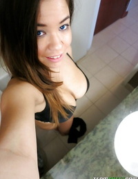 Busty amateur Audrina Mercy making a selfie and getting naked