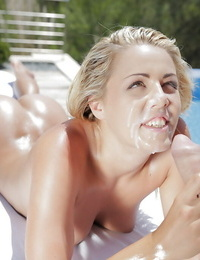 A wet Christen Courtney parks shaven cunt on top of hard-on outdoors