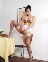 Asian mature secretary Tigerr Benson gets sloppy in her warm uniform