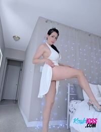 Molten Kayla Kiss in blooming white dress bares her huge huge hooters & stretches nude