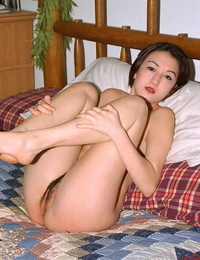 Puny Asian very first timer Hazel pulling undies aside to reveal hairy beaver