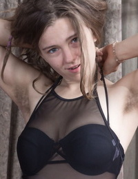 Very first timer Pixxy unveils her unshaven female body parts one at a time