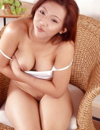 Asian sweetheart with extraordinaire face gushes off her hairless beaver on cam