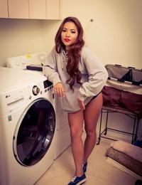 Short Asian pornstar Morgan Lee toying herself on the washing machine
