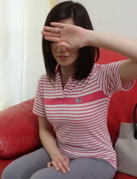 Asian stunner Ami Kikukawa uncovers her body and without bra her beaver