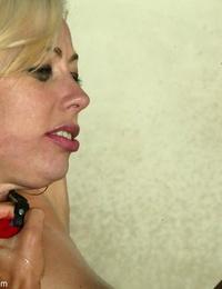 Cruel mistress Sandra Romain washing three tied up blondes naked bodies