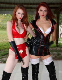 Stellar nurses Queen Amadahy & Kendra James position in groping and high heel boots