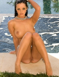Stunner with flawless thick congenital knockers Jane Taylor posing bare by the pool