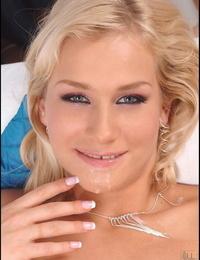 Thin blond Barunka slides cock in her throat & takes white spunk in her throat