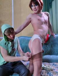 Kinky sissy guy fits on femme treating before enjoying the arouses - part 9