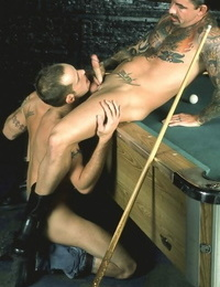 Inked muscle suffers sucking and nailing in a billiard parlour - part 1577