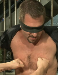 Officer justice taken down & his giant cock edged by 2 perverts! - part 278