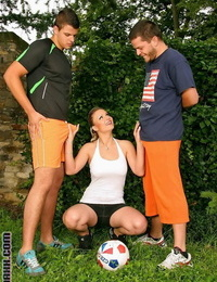 Two soccer players share one girl and also pound each other - part 410