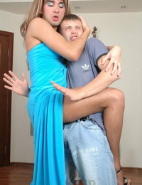 Crossdressed gay in sundress mouth kissing and riding hard cock - part 1439