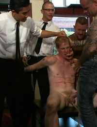 Slave gay gets tied and pounded by gang of gays in public bar - part 787
