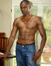 Gay black guy demonstrating off his warm assets and thick hard-on - part 797