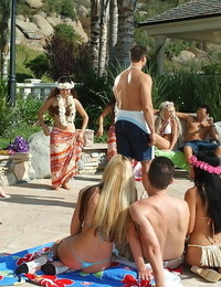 Splendid multiracial with small and big tits enjoy an outdoor gang sex party