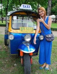 Beautiful Thai lady Mon flirting with a cute male tourist in public