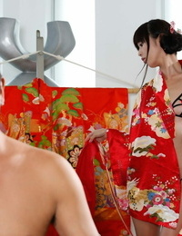 Gorgeous dude Takuo demonstrates his hard-on to this Japanese hottie Marica Hase