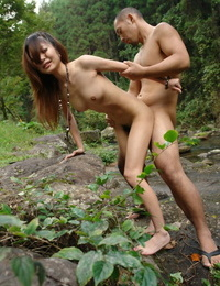 Handsome Asian model Sakurako rails on top by the lake & penetrates doggystyle