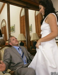 Tongues bride Roxy Jezel gives a blowjob then rides a cock on the sofa