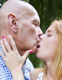 Lucky bald old man receives a spectacular Oral job from a tasty teen