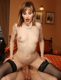 French chick Ava Courcelles rails her mans dick in seized stockings