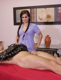 Fierce massagist Annika Eve masturbates on a clients hard-on but wont let him cum