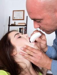 Teenager pornstar Kylie Quinn takes a rail on a schlong and licks a load of man gravy